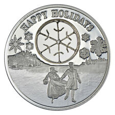 2017 Niue Happy Holidays Ice Skaters 1oz Silver Proof $2 Coin in Mint Packaging
