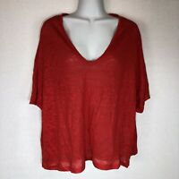 NWOT Zara Women's Linen Short Sleeve Top Shirt Blouse Red Loose V-neck Size M