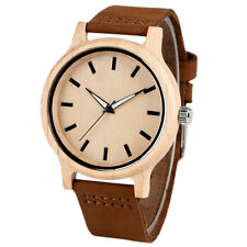 Women Men Fashion Nature Maple Wooden Watch Casual Genuine Leather Quartz Analog