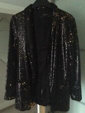 Woman's Zara sequin Jacket size M black and gold. BNWT