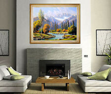 Large PAUL GRIMM Oil Painting On Canvas ORIGINAL Signed Landscape Artwork River