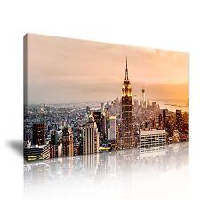 New York Manhattan Sunset Canvas Wall Art Picture Print 60x30cm