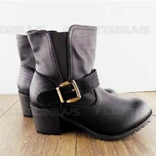 Womens black Biker Boots Mid Block Heel Ankle Boots Pull on Chelsea Boot Ladies
