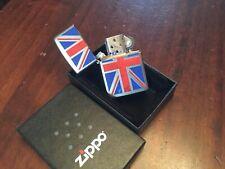 GENUINE NEW BOXED ZIPPO LIGHTER ZIPPO POLISHED SILVER UK UNION JACK BARGAIN !!