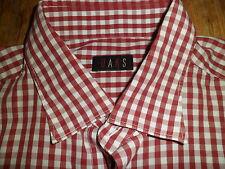 Daks Check rosso e bianco 100% Cotone Camicia a Maniche Lunghe Taglia 43/17