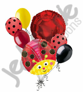 7 pc Cute Lady Bug Balloon Bouquet Spring Bugs Baby Shower Happy Birthday