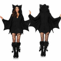 Adult Women's Bat Wings Vampire Costume Halloween Black Cape Fancy Dress Outfit
