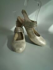 WOMENS SIZE 6 PAVERS RELIFE PEWTER SHIMMER LEATHER MARY JANE SHOES