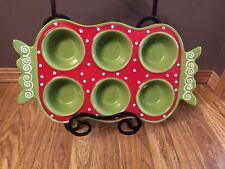 Muffin Cupcake Ceramic Dish Green Red White Polka Dots Nice Handles