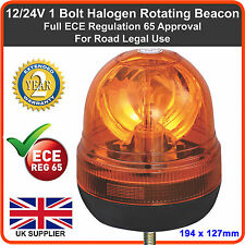 12v 24v Micro Amber Beacon Single Bolt Rotating Recovery Flashing Light Bar Van