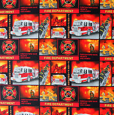 100% Cotton CREATEUR Fabric Fire Fighter Print Concepts 40x110cm cut piece pc386