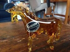 Vintage KANAWHA Art Glass AMBERINA HORSE Figurine W Sticker Label