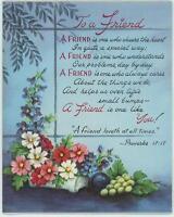 VINTAGE CHRISTMAS TOY SHOP VILLAGE 1 GARDEN CARD PROVERBS FRIEND LOVE PRINT