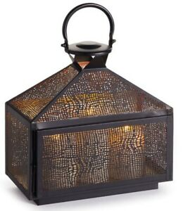 """Lacey Perforated Iron Lantern 12"""" Pottery Barn"""