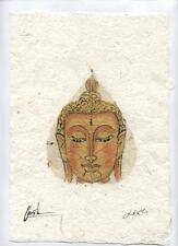 Original Ink and Oil with Bodhi Leaf   Buddha Image    Vientiane Laos       BL11
