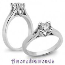 0.51 ct G SI1 round ideal cut diamond solitaire engagement ring 14k white gold