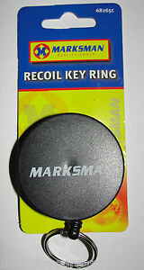QUALITY RECOIL/RETRACTABLE KEY RING CHAIN BLACK WITH BELT CLIP SERCURITY 65CM