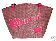 PLAYBOY LARGE SHOULDER HANDBAG BAG PINK BASKET WEAVE