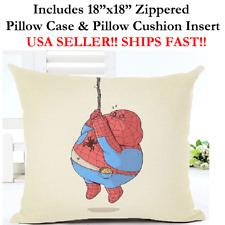 """18x18 18""""x18"""" FAT SPIDERMAN SPIDER-MAN SPIDER Throw Pillow Case & Cushion Marvel"""