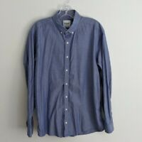 Ben Sherman Mens Shirt Size 17 34 35 Blue Oxford Tailored Skinny Fit Long Sleeve