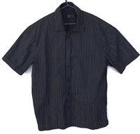 F & F Mens Black UK Large White Pinstripe Short Sleeved Shirt Quality Garment