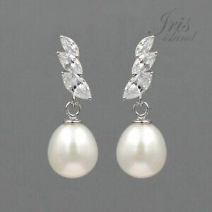 Freshwater Pearl CZ 925 Sterling Silver Drop Dangle Earrings Wedding Jewelry 950