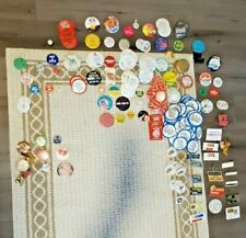 New listing Assorted Vintage Buttons and Company Nametags-Commercial, Cosmetic, Products, et