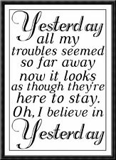 The Beatles Liverpool Yesterday Lyrics Quote Poster Print A4