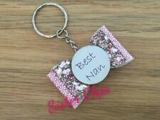 Handmade best nan keyring / bag charm gift glitter pink champagne
