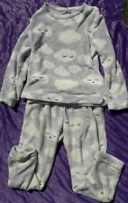 Cosy pastel blue grey fleece full pyjama lounge set cute kawaii white clouds M
