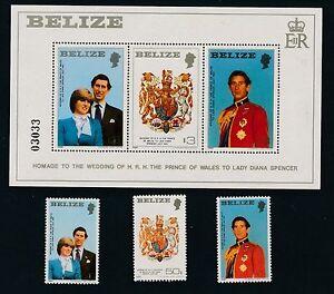 Belize ROYAL WEDDING (1981) #548-550 & MINI SHEET #554; AS SHOWN; MNH