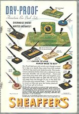 1937 SHEAFFER'S Pen advertisement, color, desk sets, pen holders