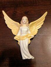 Holland Porcelain Angel Wall Mount holding ribbon sash 7 inYellow & white