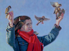 ORIGINAL OIL PAINTING, A CUTE YOUNG GIRL FEEDING THE BIRDS, Listed Artist NR!