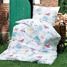 Janine Soft Seersucker Bettwäsche 20035-09 Schmetterlinge Weiß bunt 155x220