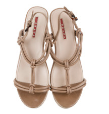 PRADA Leather Shoes, Platform, Sandals, Beige,size 38 EUR / 8 US (was $1,100)