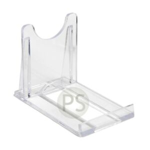 """CD, DVD Display Stands x 5 : Clear Plastic 5cm, 2"""" Credit Business Cards Support"""