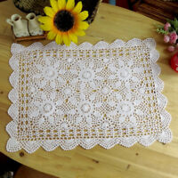 White Vintage Handmade Crochet Tablecloth Rectangle Lace Doily Floral 15x23inch