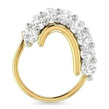 14K Yellow Gold Over Round Cubic Zirconia Nose Stud Ring Pin Everyday Use