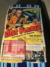 VINTAGE MOVIE POSTER THEATER ORIGINAL LOST PLANET CONQUEROR SPACE 1953 HOLDREN