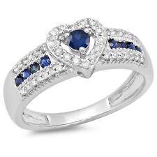 0.55 CT 10K White Gold Blue Sapphire & White Diamond Bridal Heart Promise Ring