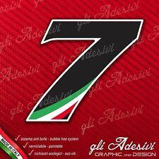 Adesivo Stickers NUMERO 7 moto auto cross gara Nero & Tricolore 5 cm