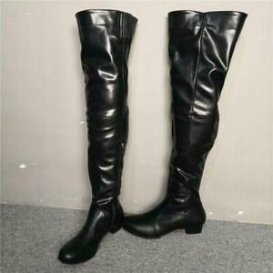 Sexy Womens Over Knee High Boots Block Mid Heel Leather Nightclub Riding Shoes