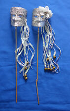 handheld face mask on stick silver glittered tragedy comedy Mardi Gras accessory