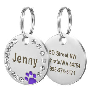 Bling Personalized Pet Dog Cat ID Tag Bone/Paw/Round Shape Collar Engraved Free