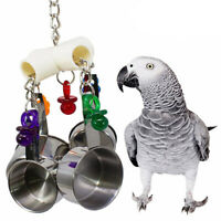 Bird Cage Chew Hang Toys Hanging Stainless Steel Cup Bell for Parrots Cockatoo