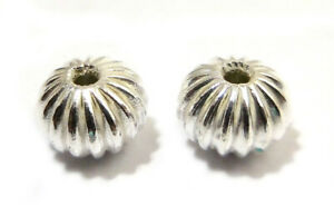 24 PCS 8X6MM CORRUGATED RONDELLE BEAD STERLING SILVER PLATED 729 UFL-409