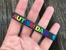 Autism Dad Wristband Silicone Band Black Mens Father ASD Autistic Spectrum