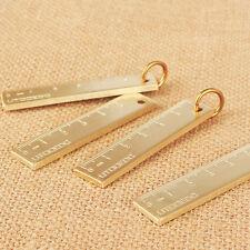 Fashion Vintage Gold Solid Brass bookmark Ruler pendant Pocket Mini keyring