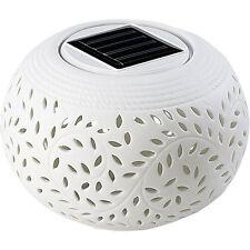 Solartischleuchte: Solar-Dekoleuchte aus Porzellan mit Farbwechsler / weißer LED